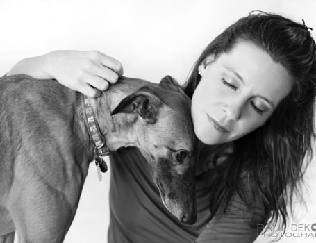 pet photography of Greyhound and foster mom.