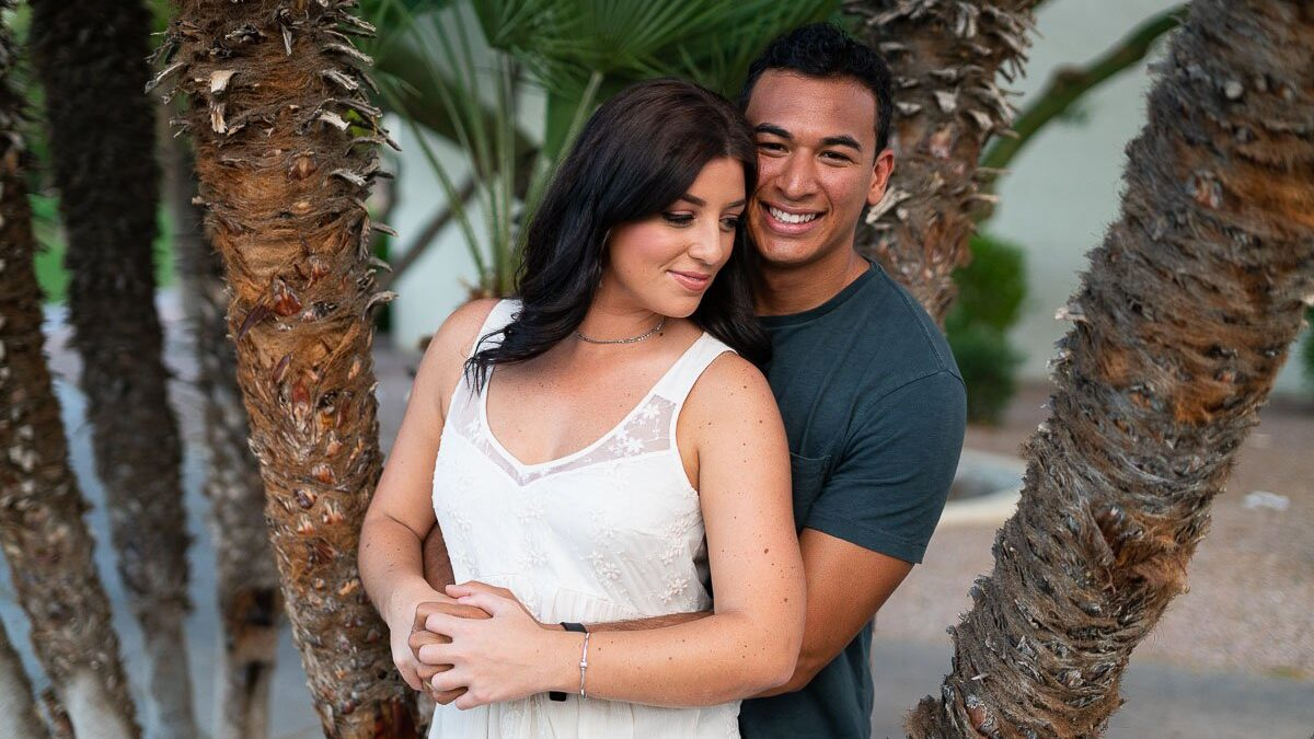 Loving Couple Embracing in Scottsdale - Engagement Photos