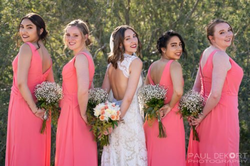 Wedding Photography of Bridesmaids with Flowers