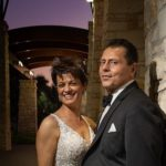 Twilight image of wedding couple at Occotillo CC in Chandler AZ